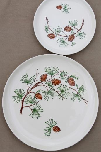 Vintage French Saxon China Pine Cone Pattern Dishes W