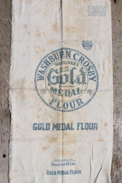 Vintage Gold Medal Flour Sack Old Cotton Feedsack Fabric W Print Advertising