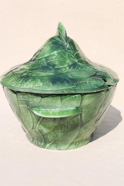 Vintage Italian Ceramic Soup Tureen Covered Bowl Majolica
