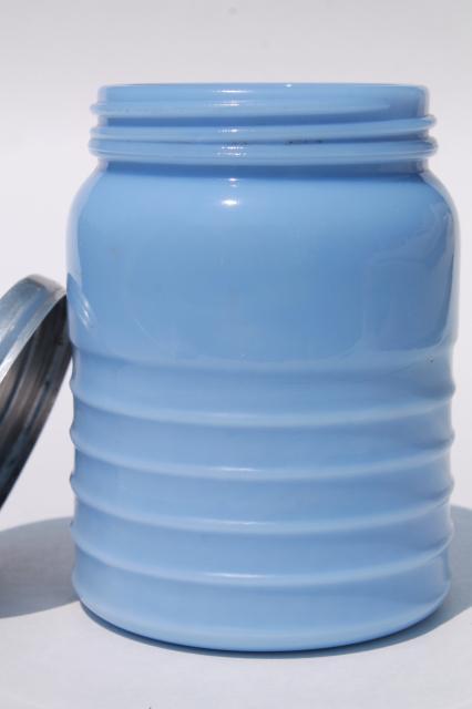 Vintage Tea Canister Jar Delphite Blue Milk Glass