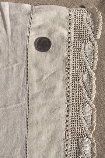 Vintage Bedding Set Crochet Lace Trimmed Cotton