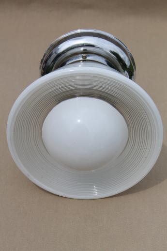 Vintage Ceiling Light Fixture W Glass Bullseye Reflector Shade Industrial Flush Mount Fixture