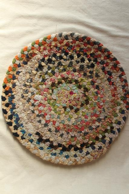 Vintage Chair Or Stool Seat Pads Country Style Braided