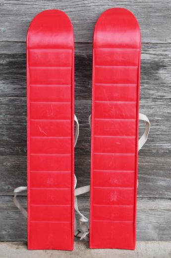 Vintage Child S Size Skis Red Plastic Mini Ski Set W