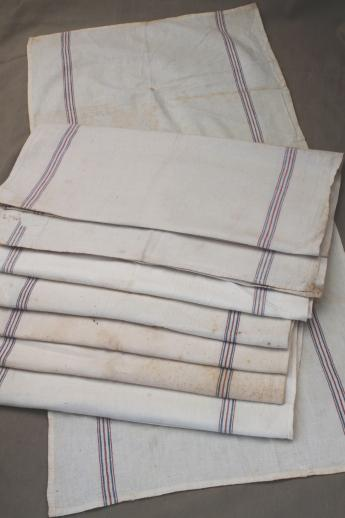 Vintage Flour Sack Towels Red Amp Blue Striped Cotton