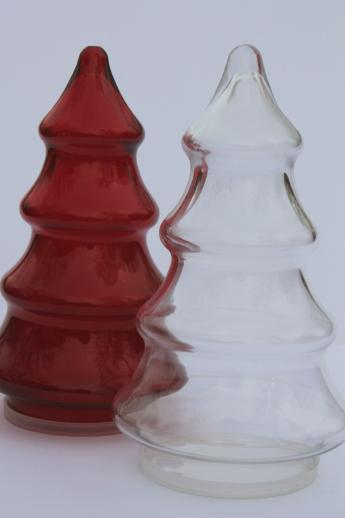 Vintage Glass Candy Jars Christmas Tree Shape Red Amp Clear