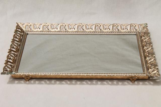Vintage Gold Tone Metal Lace Filigree Vanity Mirror To