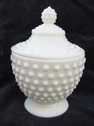 Vintage Milk White Hobnail Pattern Glass Covered Candy Dish Ivy Bowl Candlesticks Fenton Labels