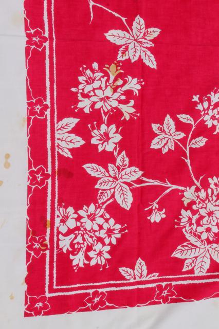 Vintage Print Cotton Tablecloths Retro 40s 50s Kitchen