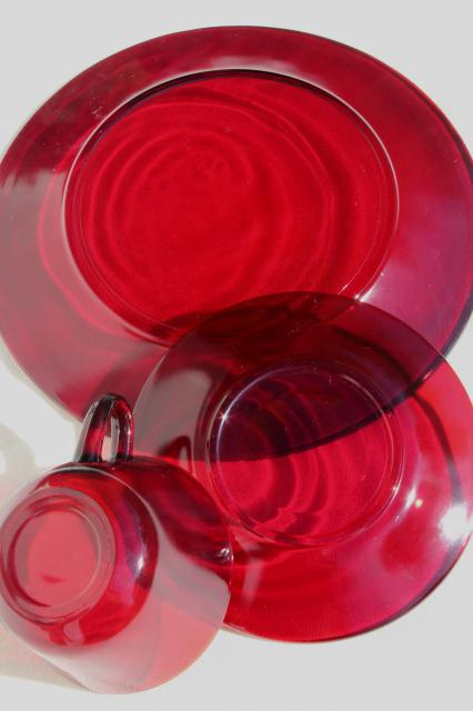 Vintage Ruby Red Glass Dishes Dinnerware Set For 6 Dinner