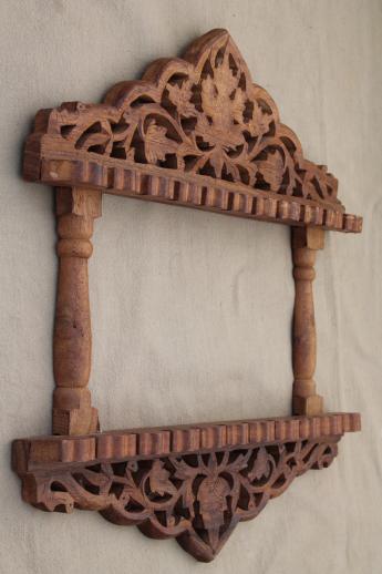 vintage spoon holder hand carved