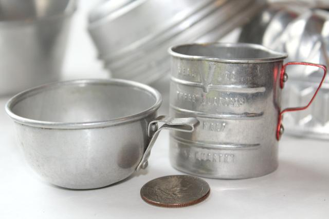 Vintage Toy Kitchen Metal Pots Pans Baking Set Doll Dishes