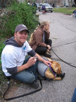 During Hurricane Katrina response, Mardi Gras with Best Friends Animals Society; March 2006