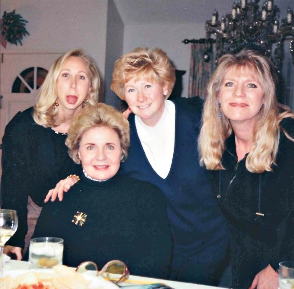 In the mid-1990s with my mom (bottom left), my sister, and our dear friend Peggy (right of me)