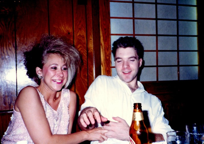 One of my fun punk hair styles, while working at a corporate job during the day; mid-80s