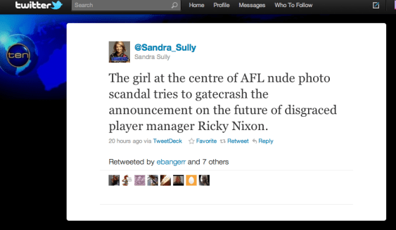 Sandra Sully Ten News tweet AFL