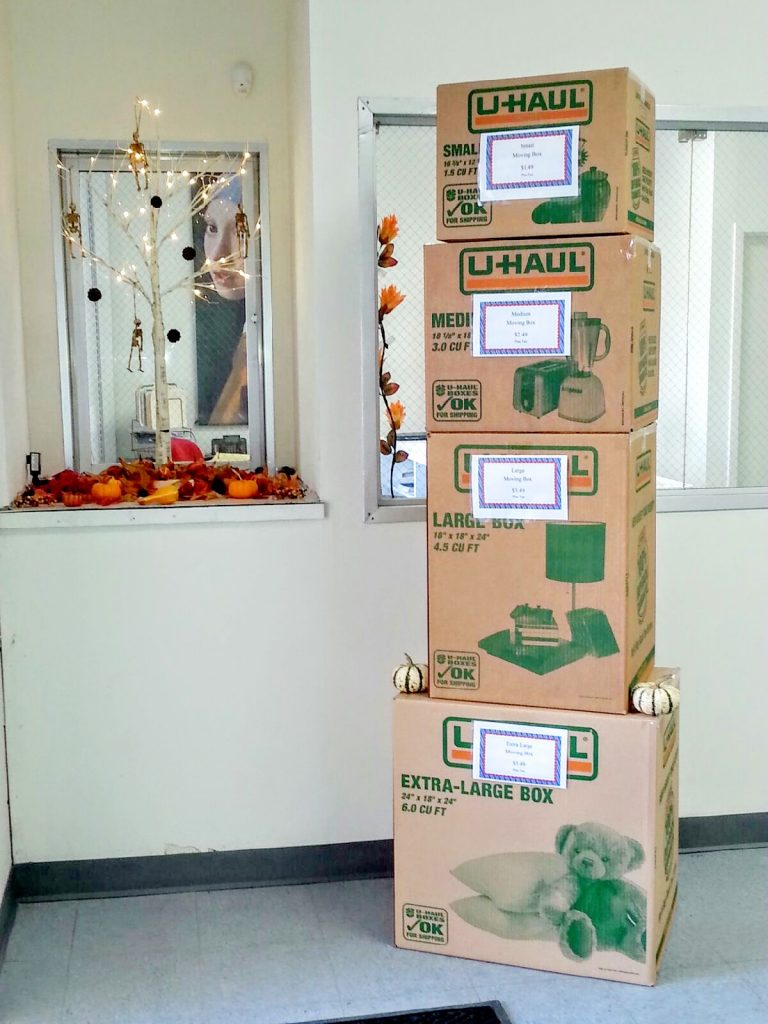We sell U-Haul boxes
