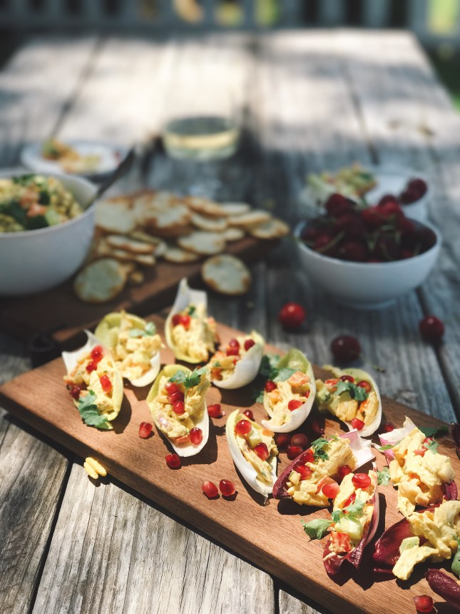 CURRIED CHICKEN SALAD WITH POMEGRANATE SEEDS // Laurenariza.com