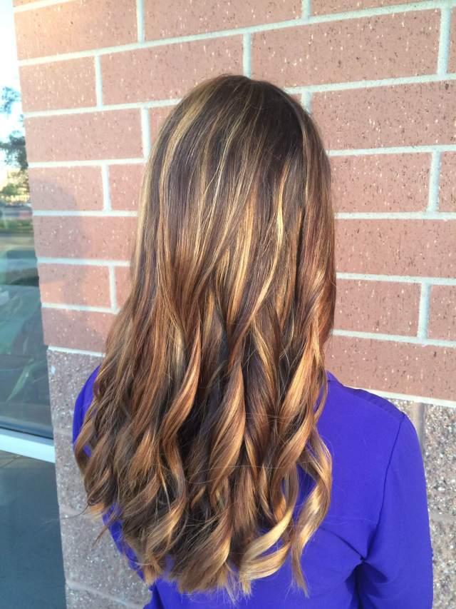 sunkissed brunette balayage highlights