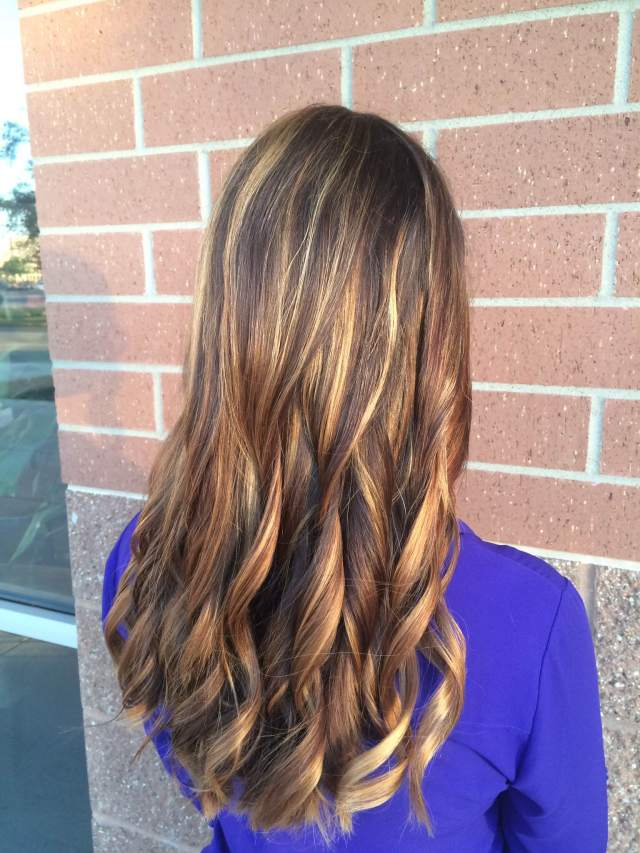sunkissed brunette balayage highlights
