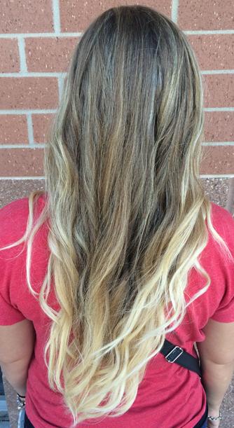 blonde mermaid hair and v haircut