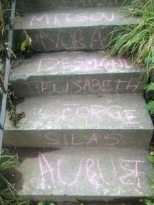 The sidewalk-chalked front steps at Elisabeth's house, shared with poet George Murray and their four kids