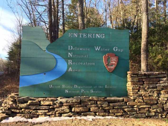 Entrance sign for Delaware Water Gap National Recreation Area