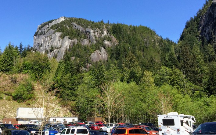 The Stawamus Chief towers over the parking lot
