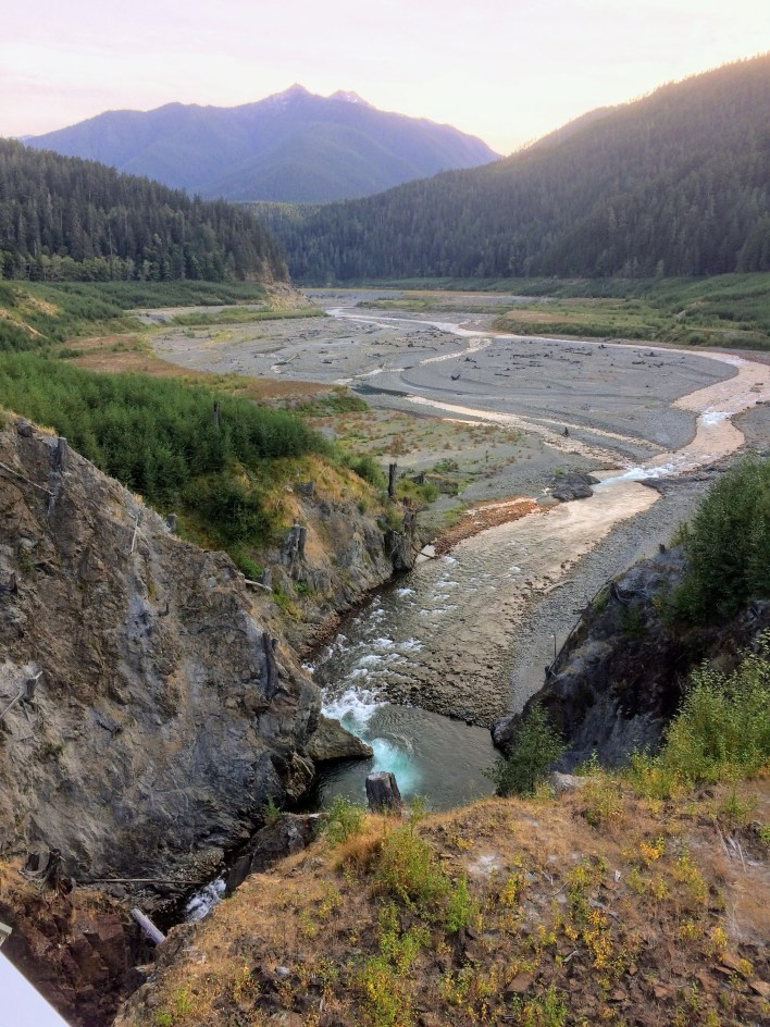 Looking up the Elwha River valley from the Glines Canyon viewing platform.