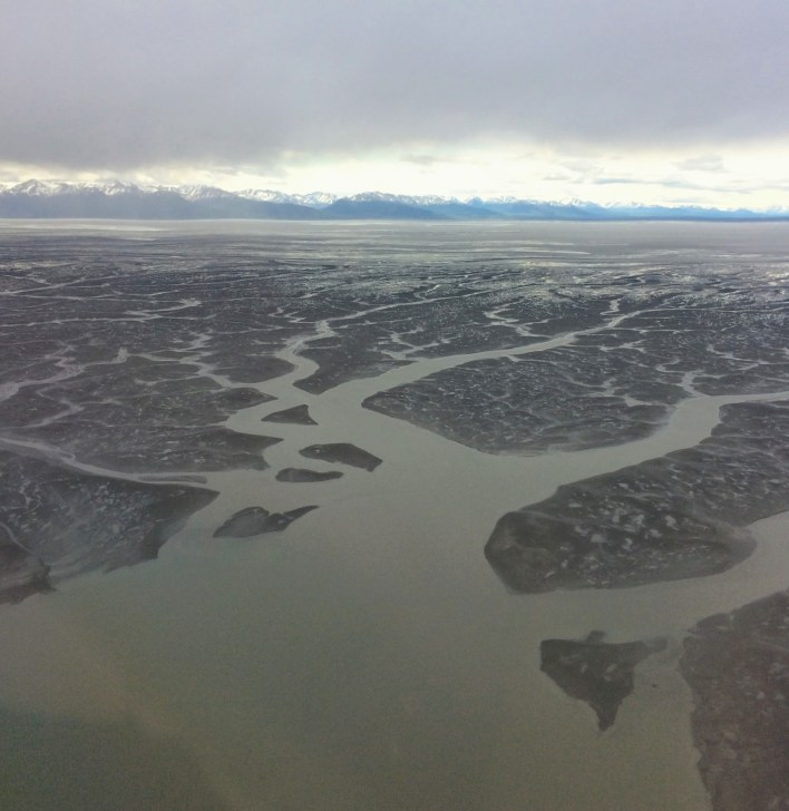 Tidal action in Turnagain Arm on the descent into Anchorage.
