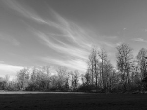 The clouds looked more dramatic in black and white, at least to my eye.
