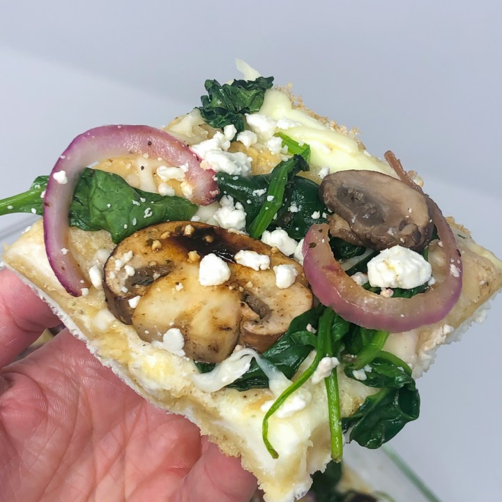 Spinach, Mushroom and Goat Cheese Egg White Pizza