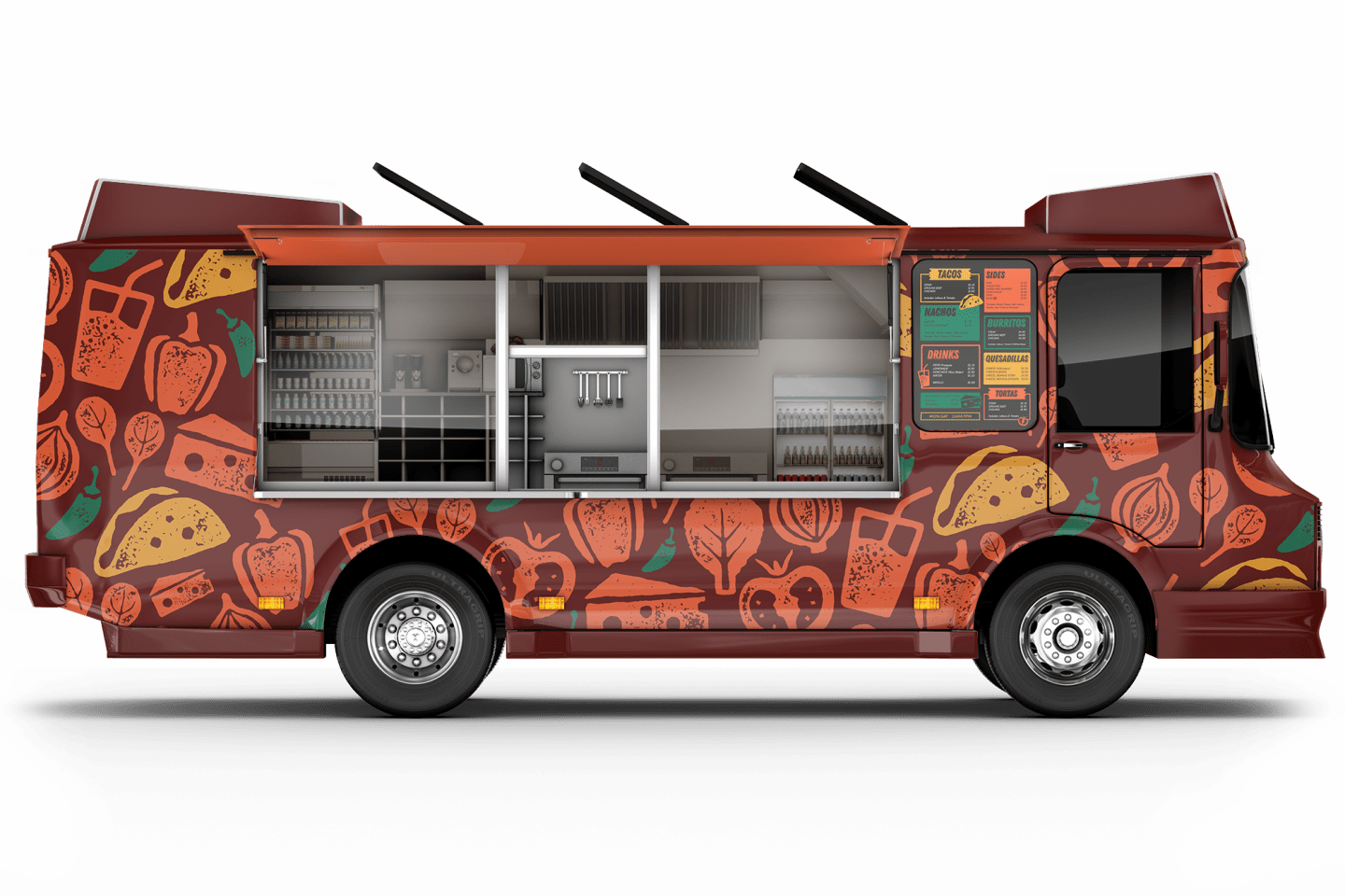 Jeny's Tacos food truck side view open