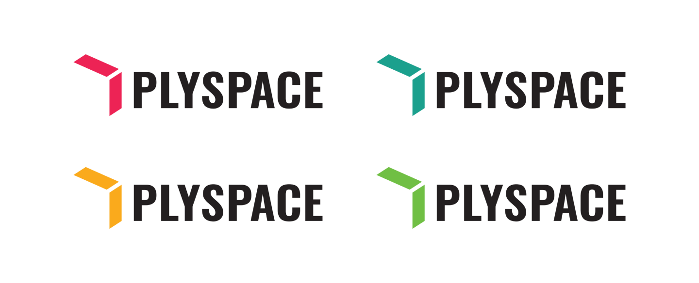 The primary logo lockup in the four colors for the PlySpace design system