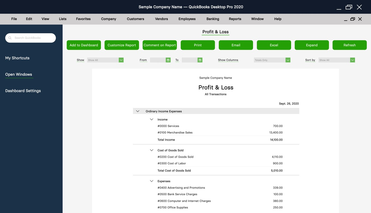QuickBooks Profit & Loss statement