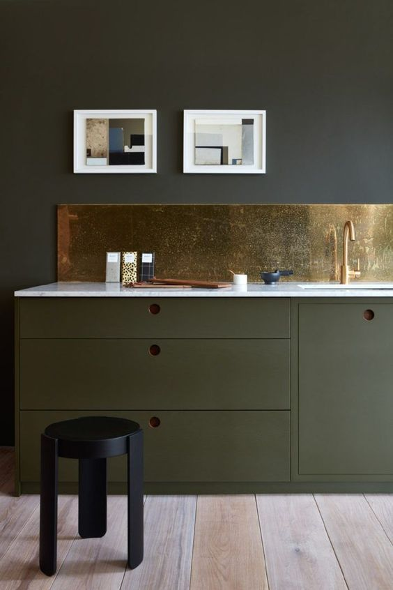 Colourful kitchens green brass modern kitchen design