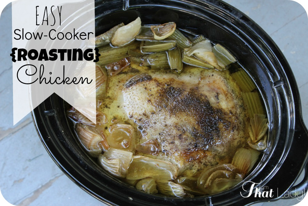Easy slow-cooker roasting chicken recipe - set and forget and have a delicious meal waiting for you at home!