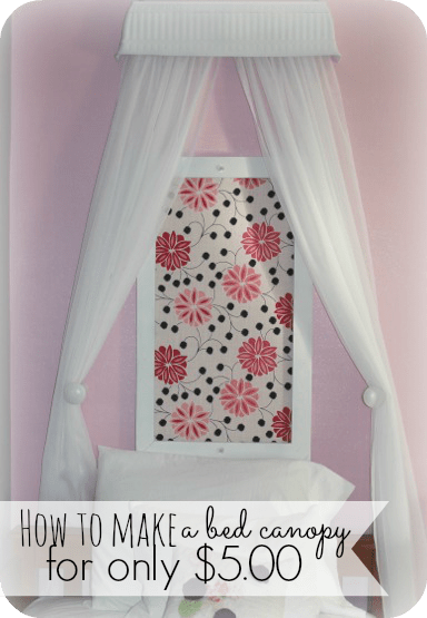 I was having a hard time finding an affordable bed canopy for my daughters room.  So I decided to make one myself and for just $5.00 you can make this beautiful bed canopy!  You will never guess what I made it out of - head on over and take a look!