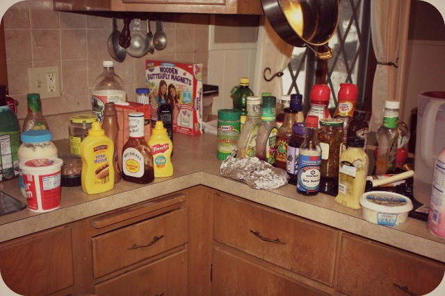 Take everything out of the fridge - create two piles. One to throw away and 1 to keep.