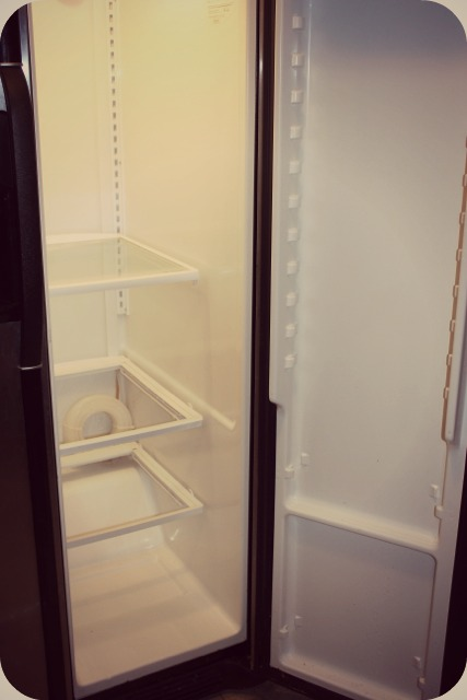 Take everything out of the inside of the fridge at once.