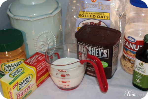 Ingredients for No Bake Cookies
