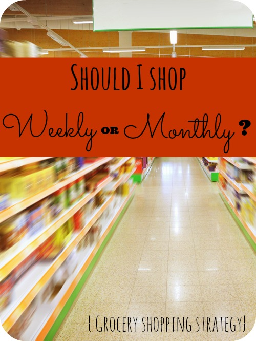 Wondering if you should grocery shop every week or once a month? Here is a post that talks about the good and bad of both.