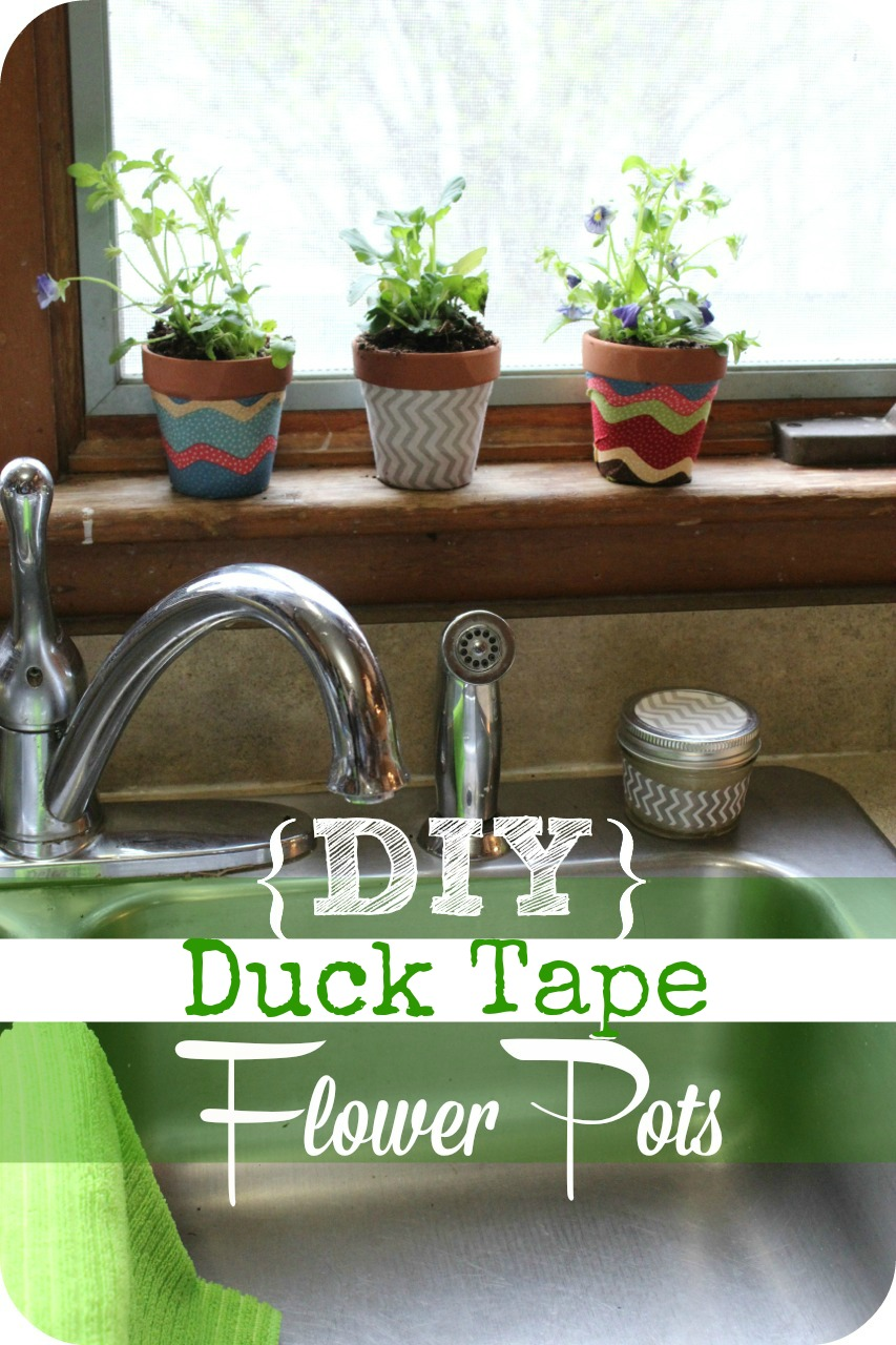 Are you looking for a super easy gift idea  Make this set of custom flower pots for under $5.00 with duck tape! #diy #crafts