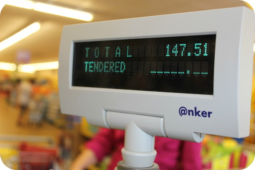 Total Shopping Trip price on cash register.