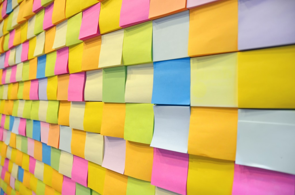 Put post it notes up on the wall
