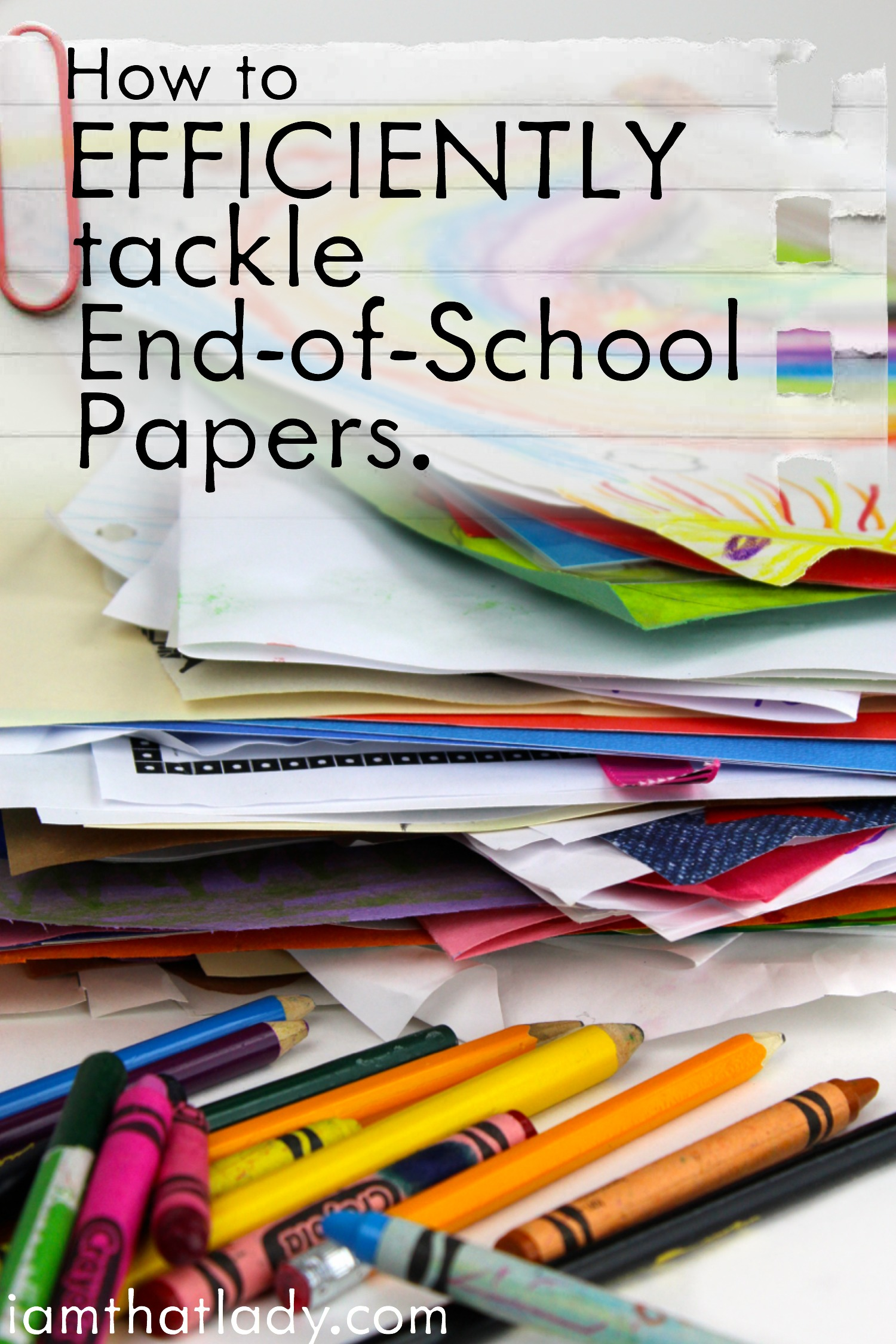Overwhelmed at the piles and piles of school papers your kids bring home at the end of the year? This guide will show you how to easily organize them and get a head start on the next school year!