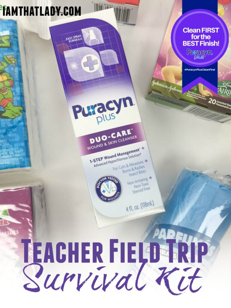 This is a super practical teachers gift - how to make your own Teacher Field Trip Survival Kit! It has everything they need for those field trip emergencies! AD #PuracynPlusCleanFirst