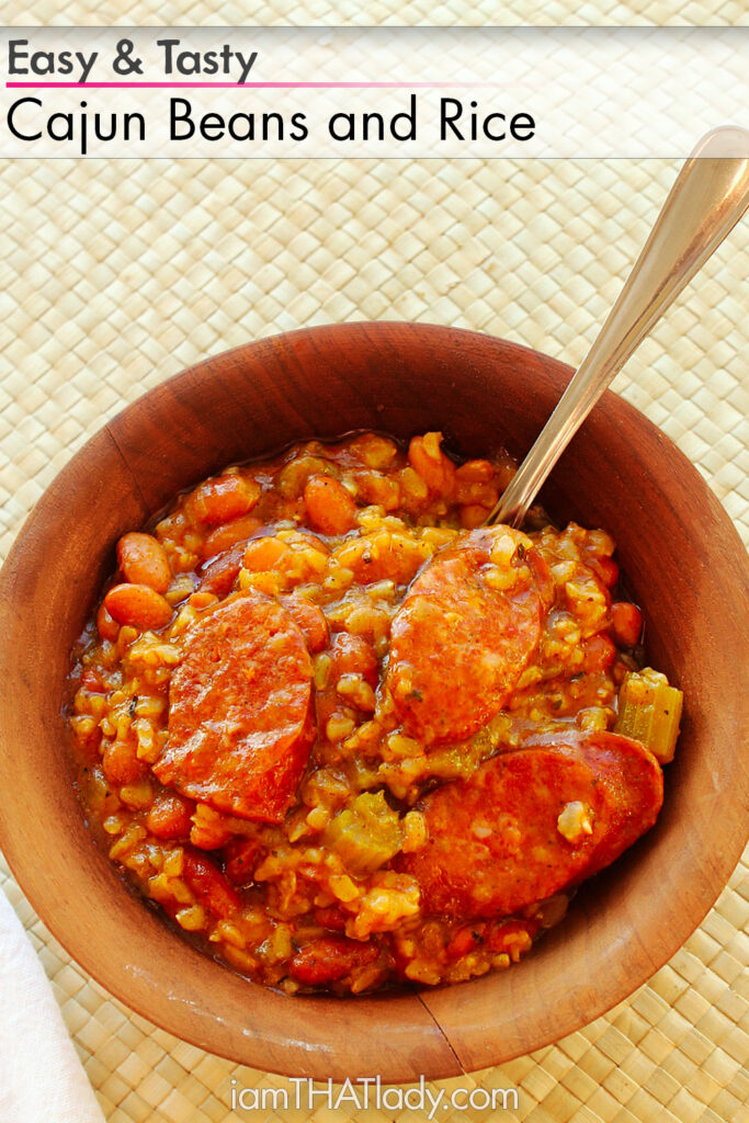 Looking for something easy, delicious and satisfying for dinner? This Cajun Beans and Rice will hit the spot!