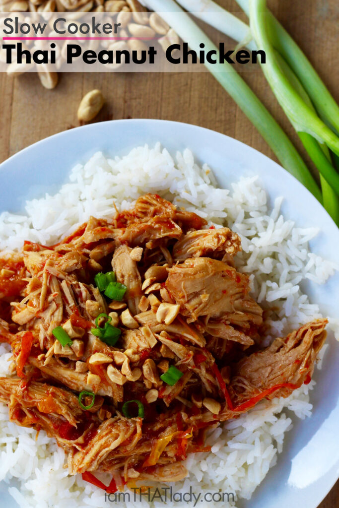 With just the right amount of sweetness, nutiness and spice, this slow cooker thai peanut chicken recipe is PERFECT! You will make this one more than once for sure!