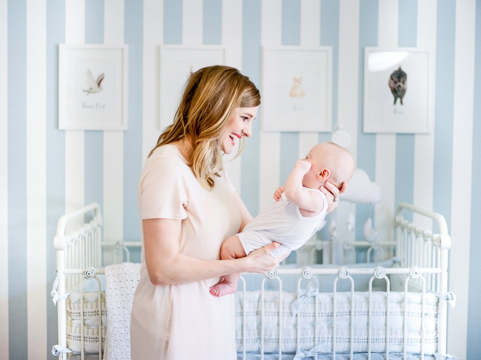 Lifestyle Newborn Photographer, Milestone Photography, Lauren Grigg Photography, Animal Nursery, Blue and White Nursery, Pottery Barn Nursery